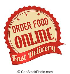 Order food online promotional label, sticker or stamp on...