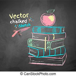 Apple on books - Vector color chalk drawing of apple on...