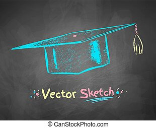 Chalk drawn mortarboard. - Color chalk drawn vector...