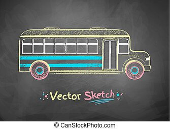 School bus. - Color vector chalk drawing of school bus.