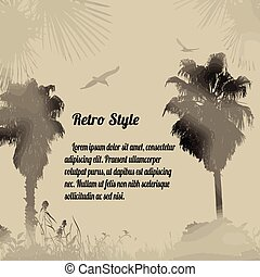Tropical foggy place poster - Tropical foggy place on retro...