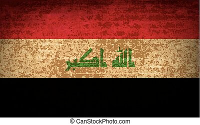 Flags Iraq with dirty paper texture. Vector - Flags of Iraq...