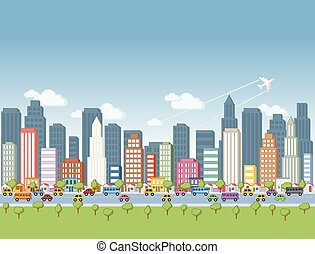 Big colorful cartoon city landscape