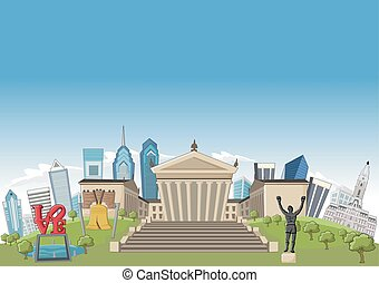 Philadelphia - Cartoon skyline view of Philadelphia with...