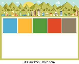colorful city - Colorful template for advertising brochure...