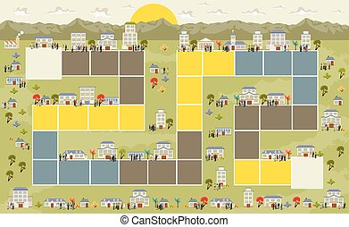 Board game on the city - Board game with a block path on the...