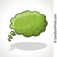 Green speech balloon icon. Thought bubble.