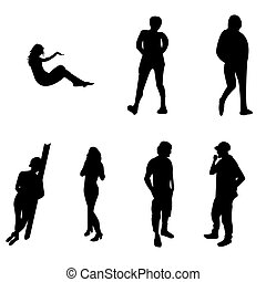 Silhoutte of young adults - Seven black silhoutte of young...