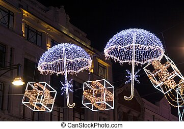 British Christmas - Chistmas decoration, with umbrella and...