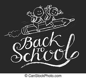 Back to school - Hand drawn boy and girl ride the flying...