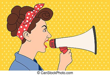 Brunet retro woman shouting with megaphone. Vintage art.
