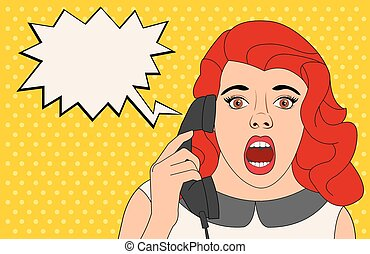 woman talking on telephone - Surprised woman talking on...