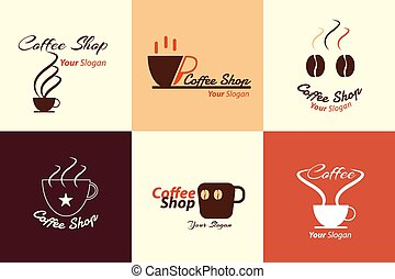 collection of coffee shop logo illustration