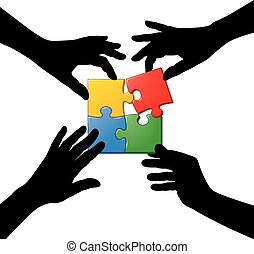 Four Hands Teamwork Puzzle - Four hand silhouette working...