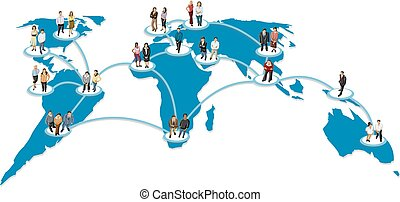 Connected people over earth globe.
