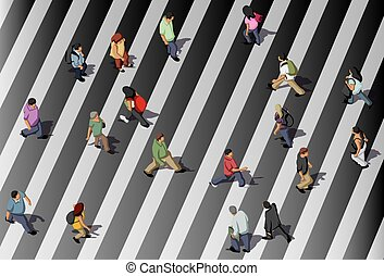 people crossing street - Group of black and white people...