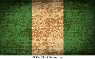 Flags Nigeria with dirty paper texture Vector - Flags of...