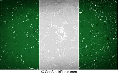 Flags Nigeria with broken glass texture. Vector - Flags of...