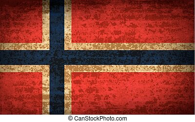 Flags Norway with dirty paper texture. Vector - Flags of...