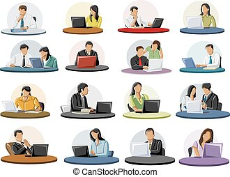 Large group of business people working on laptop