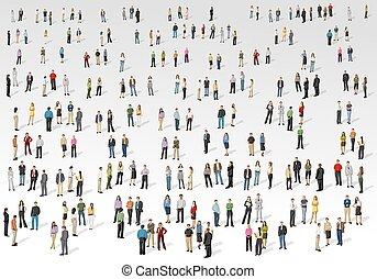 Big group of people on white background