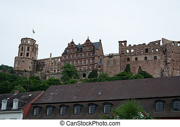 Heidelbergs castle from the citycenter - Built in the XII...