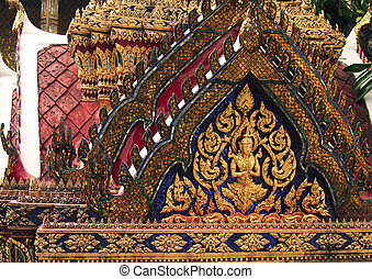 Detailed type of temple in a royal palace Bangkok, Thailand