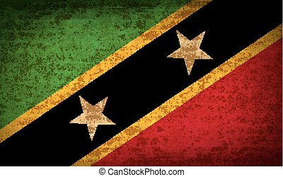 Flags Saint Kitts Nevis with dirty paper texture. Vector -...