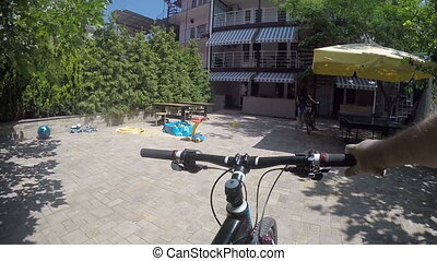 Summer travel destination of travelers with bicycles small resort hotel