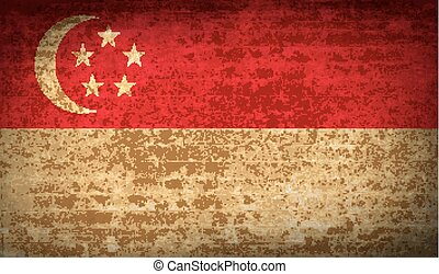 Flags Singapore. with dirty paper texture. Vector