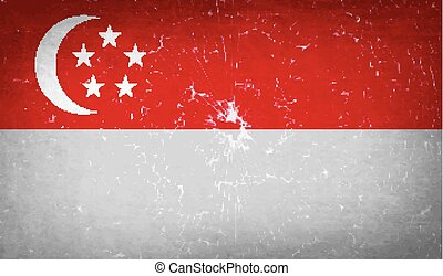 Flags Singapore. with broken glass texture. Vector