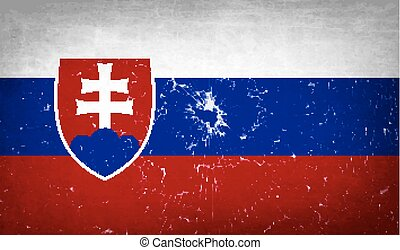 Flags Slovakia with broken glass texture Vector - Flags of...