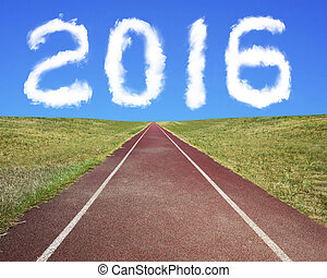 2016 year shape clouds with running track