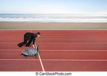 Businessman and turtle are ready to race on running track,...