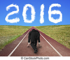 Businessman ready to race on running track toward 2016 cloud...