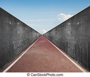 Running track with gray concrete wall