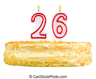 birthday cake candles number twenty six isolated - birthday...