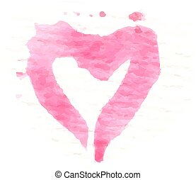 Watercolor painted pink heart, vector element for your design