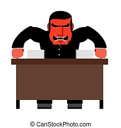 Angry boss. Chief Red with anger at table. Head of swears...