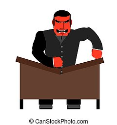 Big boss broke a table Red Businessman as loud in Office...