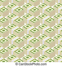 Bundle money seamless pattern. Cash dollars, vector...