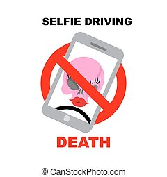 Sign ban on selfie. Strikethrough phone with skull. Selfie...