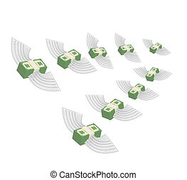 Flying winged money. Profit decreases. Loss of cash. Vector illustration
