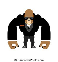 Security guard big gorilla  black suit. Bodyguard animal. Vector illustration
