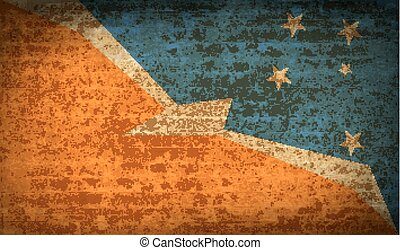 Flags of Tierra del Fuego Province with dirty paper texture....