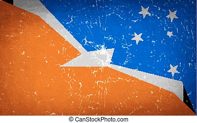 Flags of Tierra del Fuego Province with broken glass...