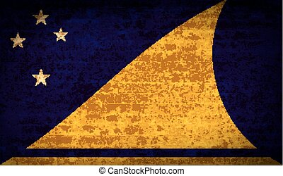Flags Tokelau with dirty paper texture. Vector - Flags of...