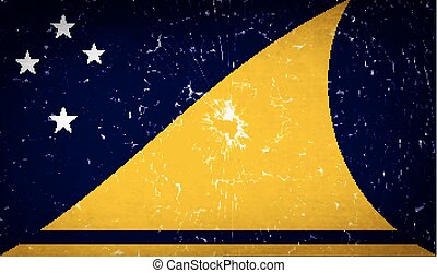 Flags Tokelau with broken glass texture Vector - Flags of...