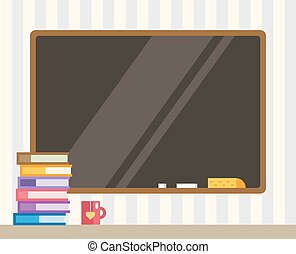 Books and black board. Back to school. Education objects, university, college symbols or knowledge, book. Stock design elements