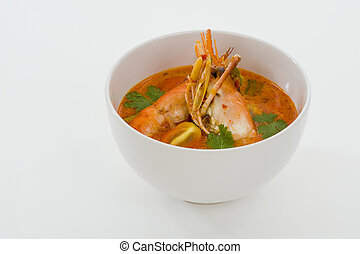 tom yum goong - spicy soup with shrimps which is known in...